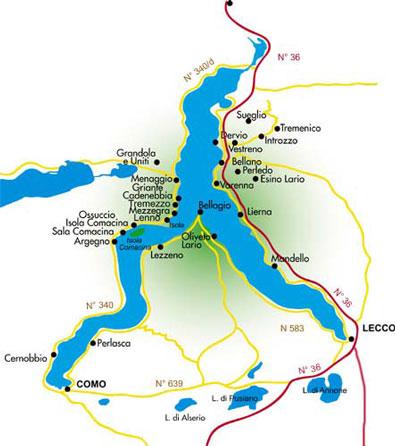 Plan du Lac de Côme